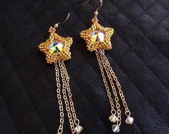 "Star earrings with Swarovski rivoli ""Crystal ab"""