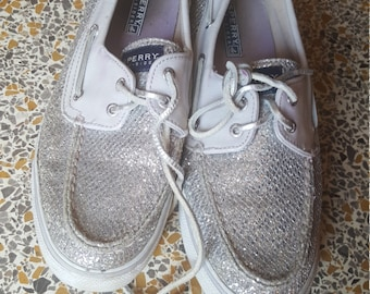 Silver Sparkly Sperry Topsiders Size 10 Womens