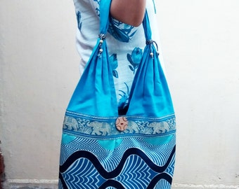 Turquoise Color Sling bag or Single strap bag in Blue Cotton Indian Fabric with Printed bagSND-1119