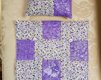Patchwork quilt for dolls bed with matching pillow