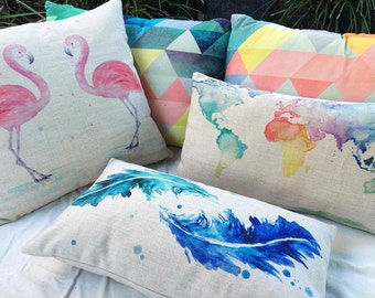 Linen Cushions Ft. Watercolour Prints // World Map // Flamingo // Feather // Pillow // Home Decor