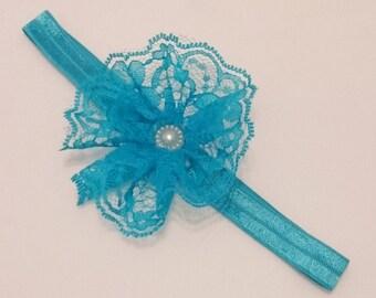 Blue Lace Flower Girls Headband- FOE