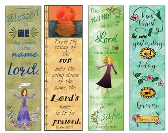 Bible Verse Bookmarks on the Name of the Lord DIY Full Color Print and Cut
