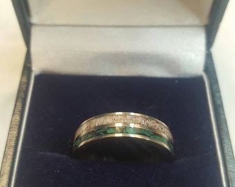 Titanium Wedding Band Ring with Malachite and Red Deer Antler Inlays