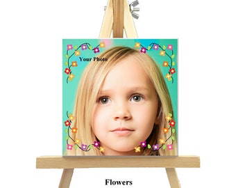 12cm x 12cm Personalized Canvas with Easel - Flowers