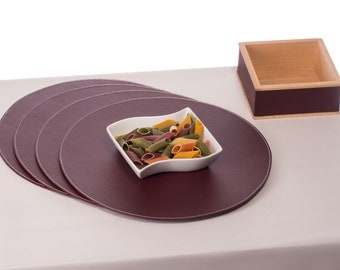 Round placemats, Table Mats made of recycled leather, Dark Burgundy 33 cm / 12.99'' Round table decor, Place mats, round coaster
