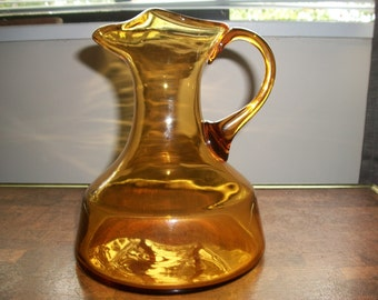 Gorgeous Vintage Mid Century Amber Glass Decanter/Pitcher/Jug