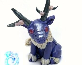 Purple Qilin, Chinese unicorn sculpture, fantasy creature, kirin, polymer clay, asian mythology, handmade