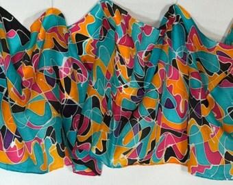 "14"" x 72"" Hand Painted Habotai Silk Scarf"
