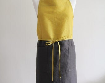 Linen Apron with 2 Pockets in Yellow & Dark Grey