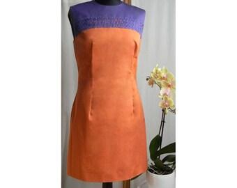 Orange Dress, Violet Dress, HandMade Dress, Summer Dress, Party Dress, Women Dress