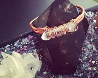 Clear Quartz Crystal Cuff Bracelet