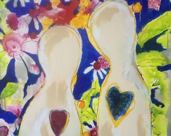The Vow- Mixed Media-Marriage- Couple- Contemporary- Modern-Figural