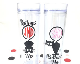 Cat Tumbler/Cat Lover/Cat Mom/Crazy Cat Lady/Cat Monogram/Cat Lover Gift/Cat Skinny Tumbler/Cat Cup/Cat Love/The Cat's meow/Bottom's Up