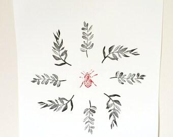 Poster art print, bee in fern halo