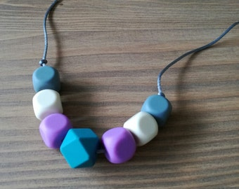 Grey and Teal Teething Necklace