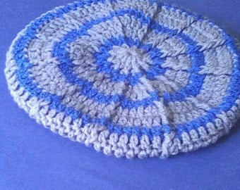 Crocheted Blue and Grey Winter Hat