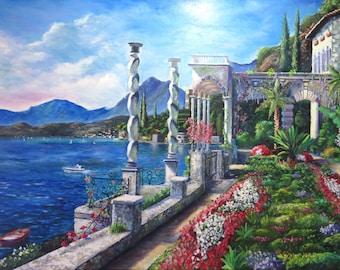 Lake Como Original Oil Painting Landscape
