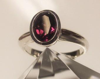 Rhodolite Garnet Bezel Set Silver Ring