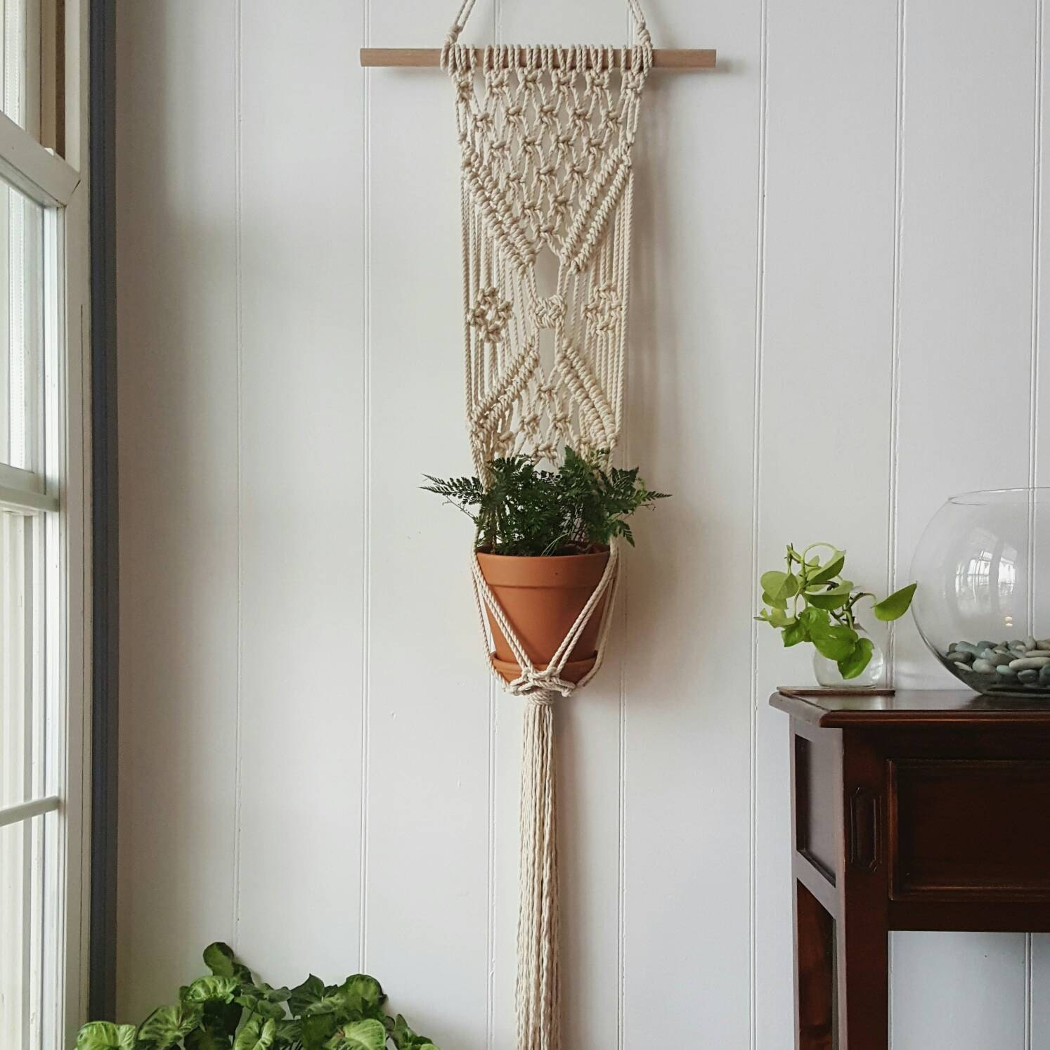 Fence Plant Hangers: Ready To Ship Macrame Plant Hanger