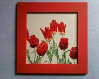 Red tulips picture, Hand made, Decoupage