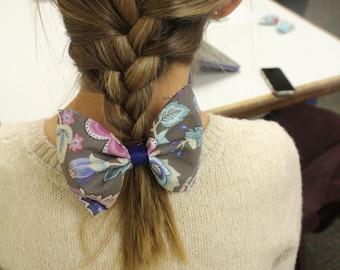 Grey Floral Hair Bow