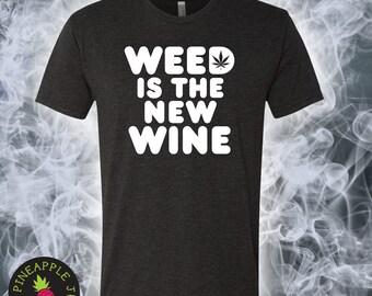 Weed Is The New Wine Triblend Crew Men's/Unisex - Stoner Tee