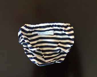 Navy and White Striped Diaper Cover