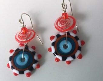 Lampwork glass disc earrings