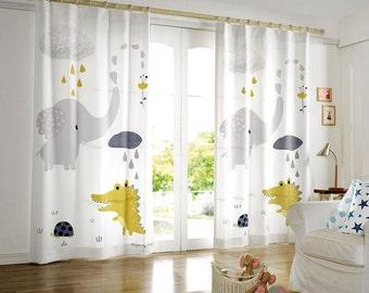 2 Panels Rainy Day Kids Blackout Curtains, 50% blocks Light, Nursery Curtains, Kids Curtains, Children Curtains, Animal Kids Curtains