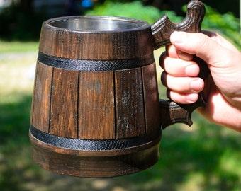 SALE! Large Beer Mug, Handmade Mug, Dark Beer Mug, Mug With Metal Bowl Inside, Sale, Beer Tankard Beer Stein Wood Stein Beer Accessories