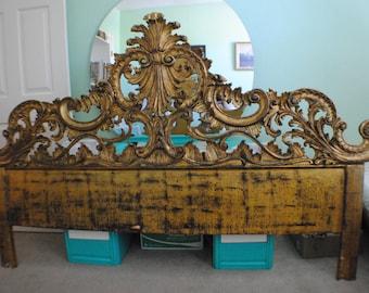 Vintage Gold Gilt Italian Rococo, Hollywood Regency, Ornate, Scrolled Carved Wood King Size Headboard