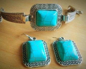 square turquoise set