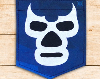 Blue Demon Mask - Lucha Libre Sticky Pocket Patches - Patch for Tshirts