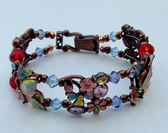 Butterfly enamel slider bracelet with crystal and rhinestones and bronze fold over magnetic clasp