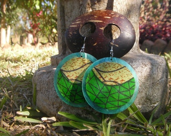 Green and Yellow African Fabric Earrings, Statement Jewelry