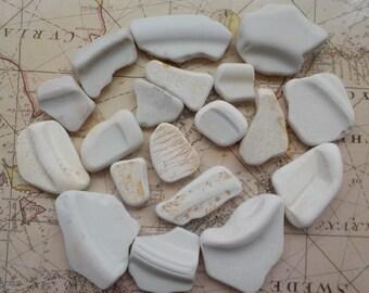 Beach  pottery-sea pottery -set of 19 pieces-white beach pottery