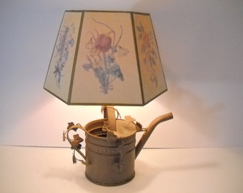 Rustic Watering Can Lamp with Flowered Shade