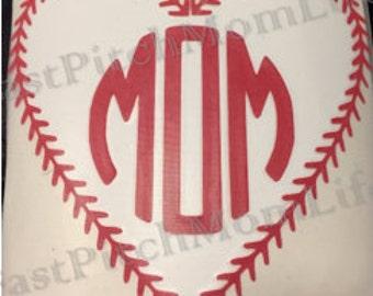 Baseball/Softball Mom Vinyl Car Decal Sticker