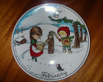"Vintage 1966 Decorative Plate by Joan Walsh Anglund ~ February 7 3/4"" W. Germany"