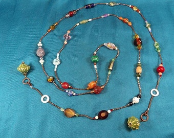 Multicolor Bead Long Handmade Bohemian Chic Lasso Necklace