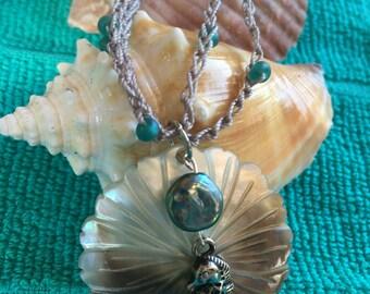 Seahorse Shell Crochet Necklace