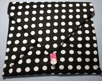 Envelope style bag - black & white polka dot
