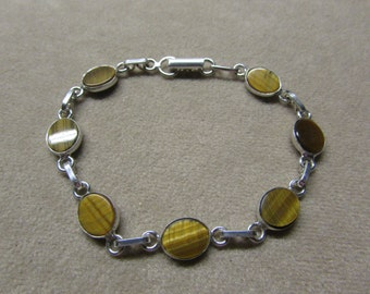Tiger's Eye STERLING silver 7-stone bracelet.