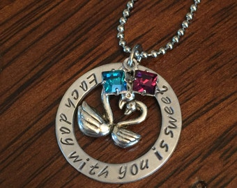 personalized sweetheart jewelry, hand stamped jewelry, personalized jewelry, Swarovski crystal necklace