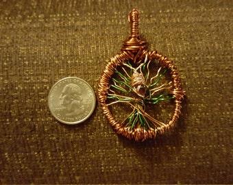 Copper wire tree of life pendant