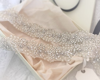 Estella Crystal + Pearl Bridal Sash - Wedding Dress Belt - Bridal Gown Sash - Wedding Accessories