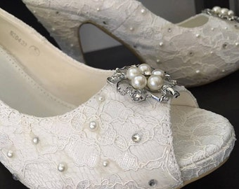 Bridal Shoes Wedding Shoes- Ivory Pearl and Sparkles Vintage
