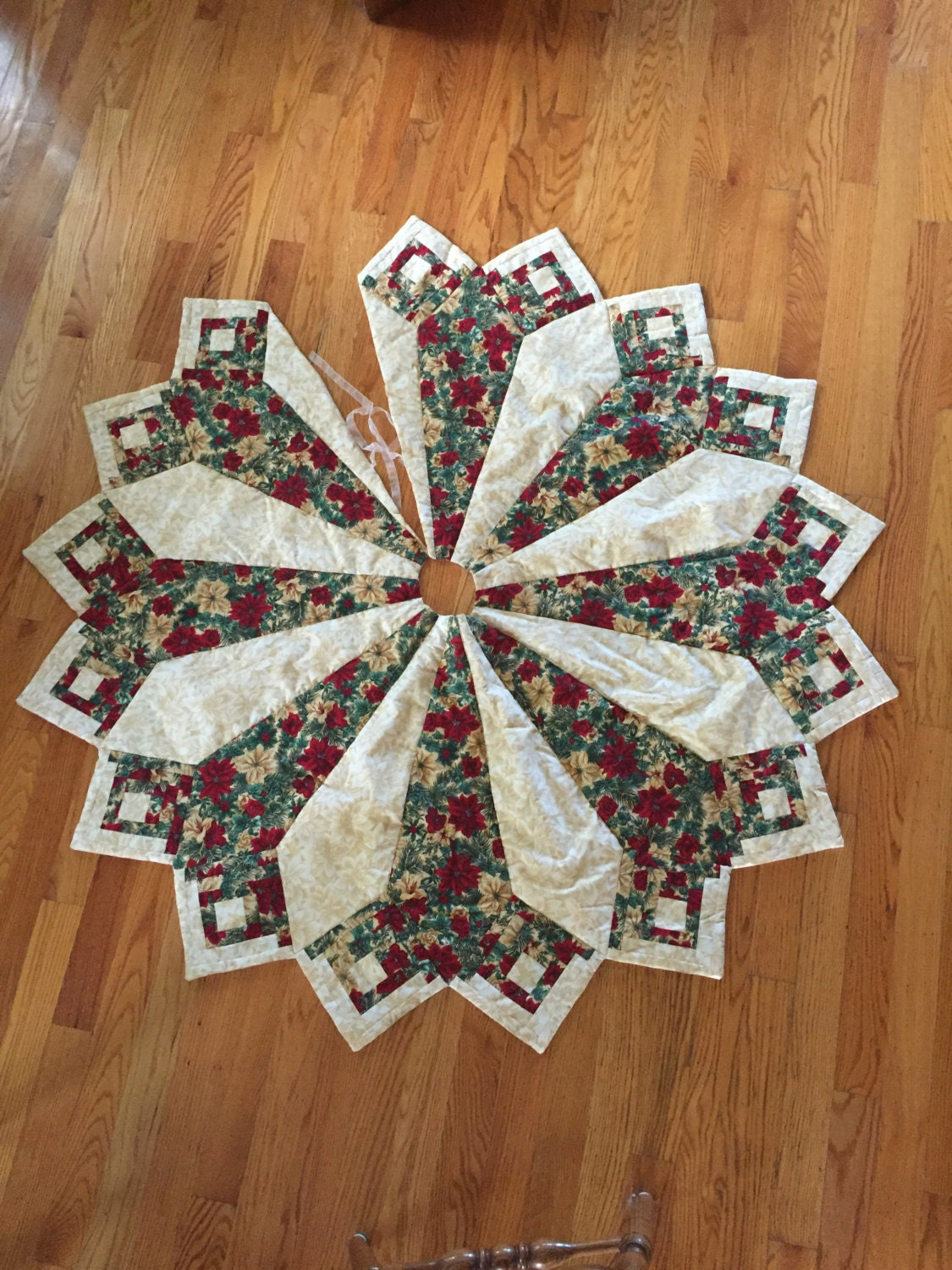 Large Christmas tree skirt Christmas tree skirt quilted tree
