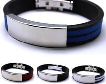 Mens Rubber Band  Stainless Steel Bracelet